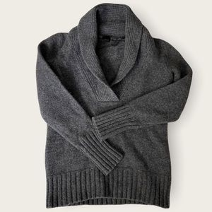 ESPRIT Wool Charcoal Grey Foldover V-Neck Sweater